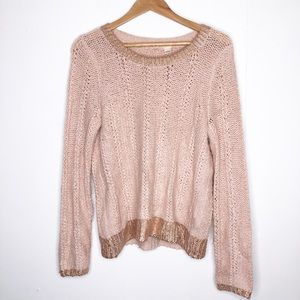 Moth ribbed metallic detail scoop neck sweater